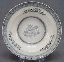 Pair of Thomas Till Grecian Black Transferware Ironstone Deep Plates C. 1861-80