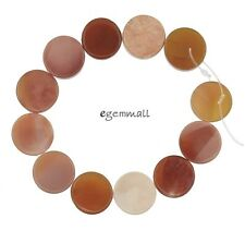 """12 Natural Pink Cashmere Agate Flat Round Coin Beads 15mm 7.2"""" #54112"""
