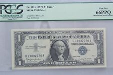 Rare Mismatched Serial Numbers Graded PPQ 66 $1.00 1957 B silver certificate