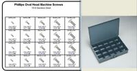 STAINLESS OVAL HEAD MACHINE SCREW ASSORTMENT IN LOCKING METAL TRAY PHILLIPS  KIT