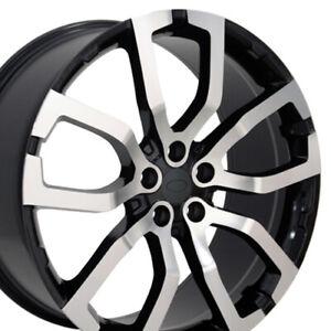 "22"" Rim Fits Land Rover LR04 Range Rover LR04 Black Mach'd 22x10 Wheel"