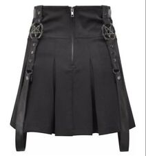 UK Alchemy Gothic Lolita Black Heavy Metal PU Faux Leather Black Mini Skirt