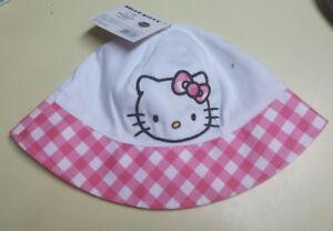 NEW Sanrio Hello Kitty Beach Sun Hat Brim Toddler Baby Pink Polka Dots #FRBB