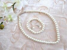 Beautiful Glass Pearl Rope Necklace Bracelet Dangle Earring Jewellery Set