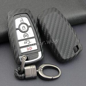 For Ford Mondeo/Explorer/F250 Carbon Fiber Soft Smart Key Fob Chain Case Cover