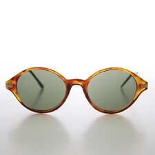 Simple Oval Tortoise 90s Unisex Sunglass Gold Temples - Binxy
