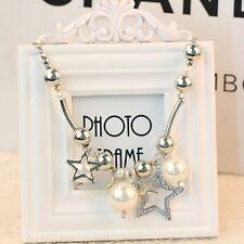 Moda Dije Joyería Collar de perlas astilla estrella grande