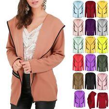 Womens Ladies PVC Trim Open Front Zip Pockets Hoody Hoodies Hooded Cardigan Top