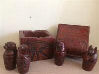 Kemet Art Egyptian Engraved Canopic Jars in Box ( Brown )