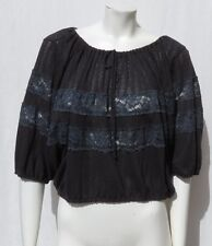 FREE PEOPLE FP Black Stretch Knit Lace Boho Peasant Blouse Shirt Top size M