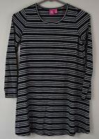 Girls' Size Medium M J. Khaki Girls Metallic Striped Black Long Sleeve Tunic Top