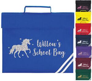 Girls Personalised Unicorn Glitter Book Bag Kids Horse Riding Gym School Gift