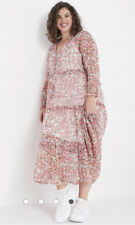 Neon Rose Maxi Dress Size 8,12,18 & 22 Tiered Mabel Ditsy Rose Smock EX11 NEW