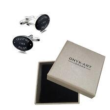 Mens Black Oval 'Trust Me Im A Pilot' Cufflinks & Gift Box - By Onyx Art