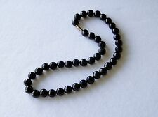 "Black Onyx Necklace 10mm Black Onyx Beads necklace 16"" 10 mm Black Onyx Beads"