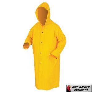 "Safety Rain Coat Yellow Rain Jacket 49"" w Detachable Hood .35mm PVC / Polyester"