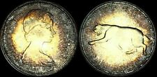 1967 CANADA COUGAR 25 CENTS SILVER HIGH QUALITY CIRCLE TONED COIN