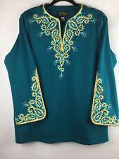 Bob Mackie Wearable Art Women's Size Large Top Beautiful Embroidery 3/4 Sleeve