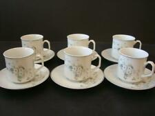 PORCELANA REAL BRASIL WHITE BLOSSOM 6 X CUPS AND SAUCERS