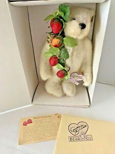 "Annette Funicello Strawberry Jam Bear in Box COA Recipe White Jointed Ltd Ed 12"""