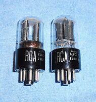 2 RCA 6SL7GT Vacuum Tubes - 1950's Vintage Audio Twin Triodes