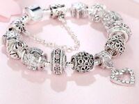 925 Sterling Silver Heart Charm Bead Bracelet Bangle Crystal Fashion Jewelry