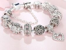 925 Sterling Silver Heart Charm Bracelet Bangle Crystal Beads Fashion Jewelry