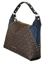 MICHAEL KORS Aria Handtasche Neu 450€ Bag Tasche MD SHoulder Brown navy  Stud