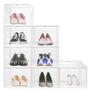 Shoe Organizer for Stackable Shoe Boxes closet and entryway Shoe Storage cabinet