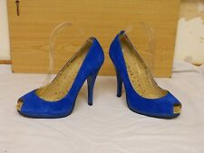 RED OR DEAD Bright Electric Blue Suede High Heel Peep Toe Platform SHOES sz 6 39
