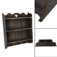 Vintage Style Wall Unit Shelf Storage Cupboard Cabinet Key Hooks Shabby Chic