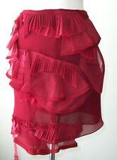ROBERTA FURLANETTO Red Silk Ruffle Applique Skirt 40 4