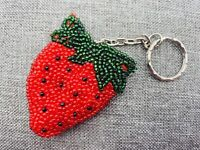 Vintage Hand Beaded Strawberry Keychain Seed Berry Fruit Purse Decor Key Fob