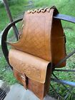 LEATHER HAND TOOLED SADDLE BAGS / Horse Or Bike