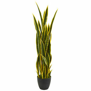 Nearly Natural 4' Sansevieria Artificial Plant w/Yellow Lining and Black Stripes