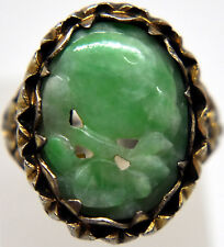 Antique Chinese Silver and Natural Jade Ring Size 4 - 5.5 (Adjustable)