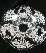 """Vintage Etched Depression Clear Glass Footed Centerpiece Fruit Bowl 10.5"""""""