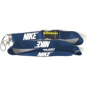 Nike Lanyard Detachable Keychain iPod Camera Strap Badge ID Navy Blue