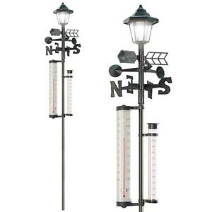 5-in-1 Garden Weather Station with Solar Light Thermometer Wind Speed Rain Gauge