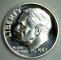 1963 Silver Proof Roosevelt Dime Ten-Cent Coin 10c from US Mint Proof Set