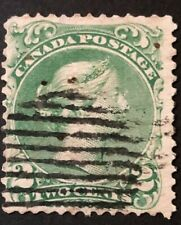 CANADA 1868 # 24 - QUEEN VICTORIA 'LARGE QUEEN' ISSUE 2 cent GREEN USED