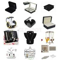 Earrings Cufflink Necklace Watch DIsplay Case Stand Holder Jewelry Storage Box