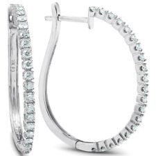 """1 CT Diamante Real Aros mujer blanca pendientes de oro 3/4"""" De Alto"""