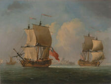 An English Sloop and a Frigate in a Light Breeze Swaine Segelschiffe B A3 01836