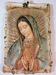 """Our Lady of Guadalupe Picture on Wood 6""""  Made in Italy"""