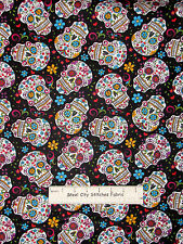 Folkloric Skull Fabric - 100% Cotton  - Death Skulls Flowers Hearts  - 27 Inches