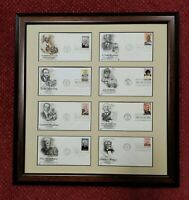 "M.L. King, Ida B.Wells, W.E.B.DuBois First Day Covers Framed- 20""x20"" FDC Stamps"