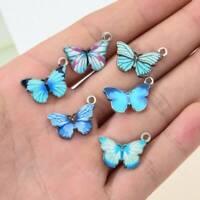 10x Blue Enamel Cute Butterfly Charms Pendants DIY Necklace Earrings Jewelry