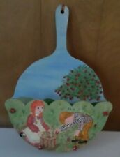 New listing Vintage Wooden Paper Plate Holder Wall Hanging Painted