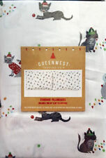 NEW CAT KITTEN 2 STANDARD PILLOWCASES SET 100% COTTON COLORFUL WINTER BED DECOR